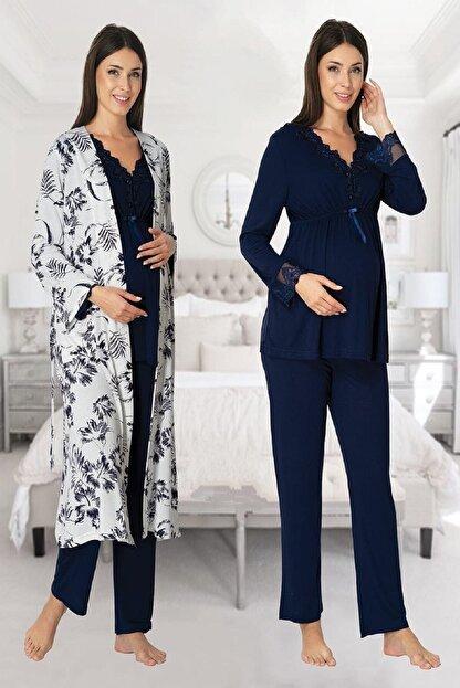 Effort Pijama Zerre Bebe Kadın Lacivert Uzun Kollu Hamile Pijama Takımı Sabahlık Set