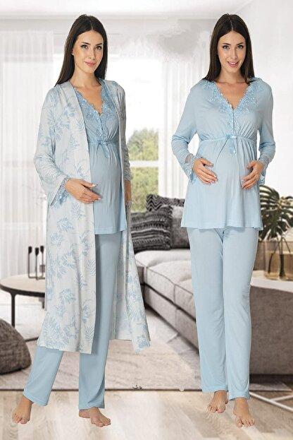 Effort Pijama Zerre Bebe Kadın Mavi Uzun Kollu Hamile Pijama Takımı Sabahlık Lohusa Set