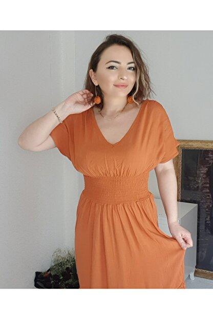 pacco butik Kadın Ön Arka V Yaka Beli Lastikli Elbise