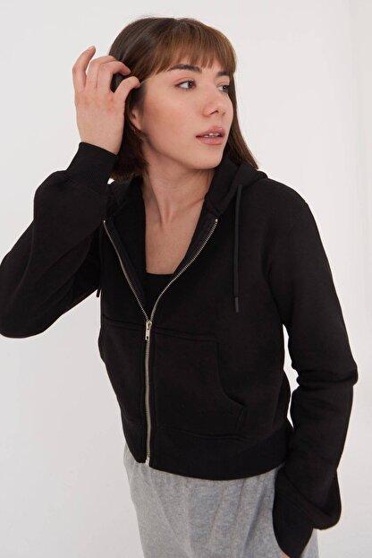 Addax Kadın Siyah Kapüşonlu Hırka H0768 - J9J10 Adx-0000020944