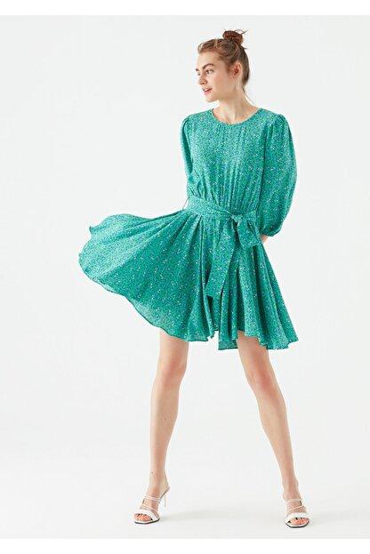 Mavi Kadın Yeşil Çiçek Baskılı Yeşil Elbise