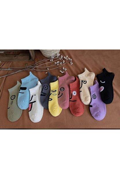 Zirve Unisex Yüz Desenli Patik Çorap 10lu Parfümlü