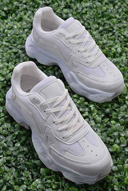 Bambi Beyaz Nubuk Kadın Sneaker K01876010071
