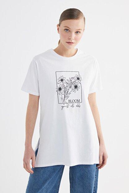 Trendyol Modest Beyaz Baskılı Örme T-Shirt-Tunik TCTSS21TN0275