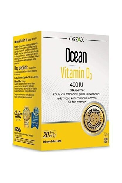 Orzax Ocean Vitamin D3 400 Sprey