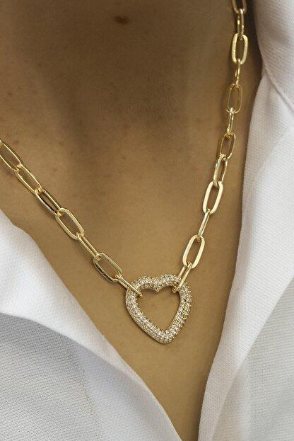 jackferrero Kadın Taşlı Kalp Figürlü Altın Renkli Zincir Kolye Altın