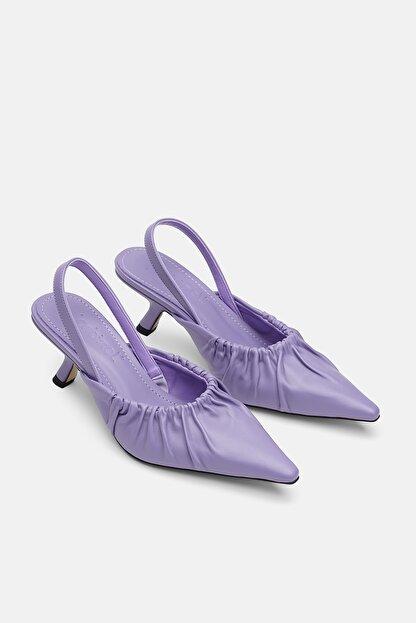 Jorbinol Kadın Lila Deri Klasik Topuklu Ayakkabı