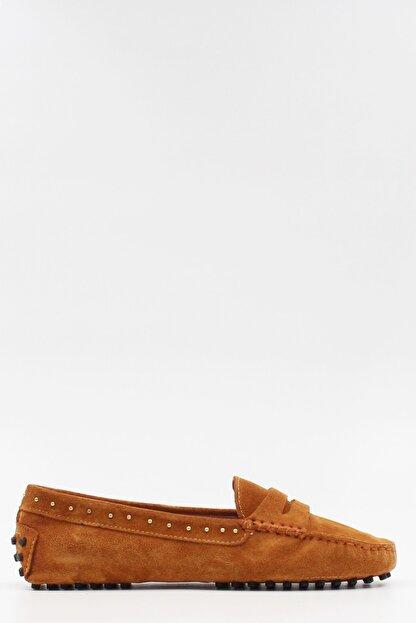 West To West Kadın Taba Süet Loafer Ayakkabı