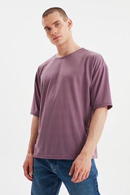 TRENDYOL MAN Açık Mor Basic Erkek Bisiklet Yaka Oversize Kısa Kollu T-Shirt TMNSS21TS0811
