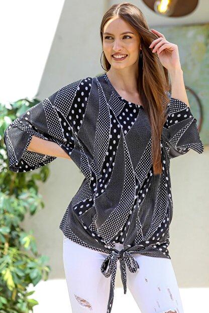 Chiccy Kadın Siyah Pliseli Puantiye Desenli 3/4 Kol Bağlamalı Bluz M10010200BL95402