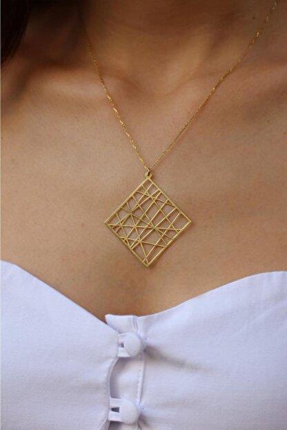 Dalmarkt Çizgisel Soyut Tasarım Kolye Gold Kaplama 925 Ayar Gümüş