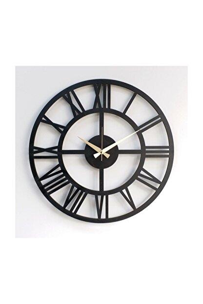 Otantik Siyah Ahşap 6mmmdf Tam Sayılı Dekoratif Duvar Saati 50 cm