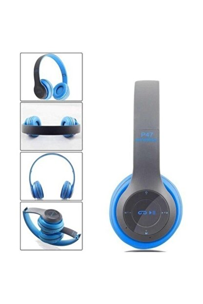 Polygold P47POL Bluetooth Kulaklık Mp3 Fm Solo 2 Beats Model Kulaküstü Mavi