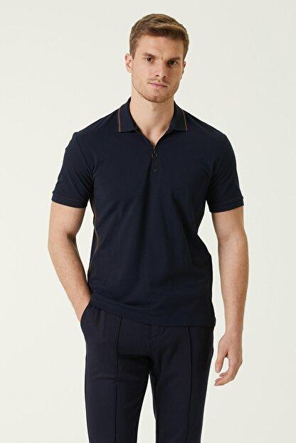 Network Erkek Slim Fit Lacivert Polo Yaka Şeritli T-shirt 1078381