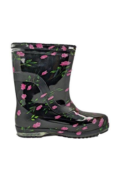 fafatara Kadın Mor Renk Çiçekli Iş Bahçe Yağmur Çizmesi