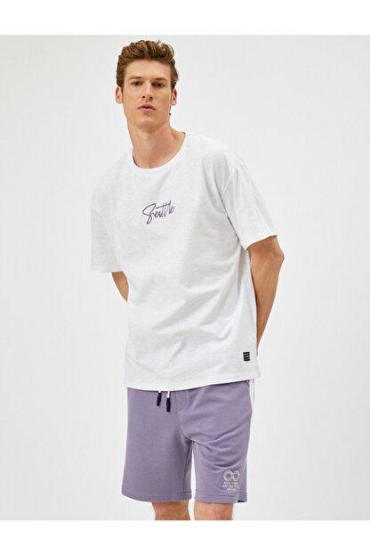 Koton Erkek Beyaz Yazı Baskılı T-Shirt