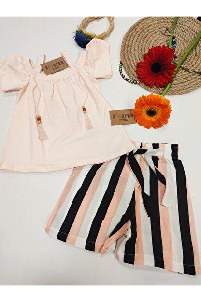 Biberon Çocuk Giyim Somon Renk Askılı Şortlu Takım