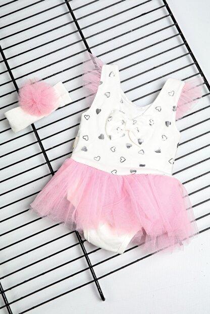 Bebe Türk Kız Bebek Pembe Fiyonklu Kalpli Tütülü Elbise