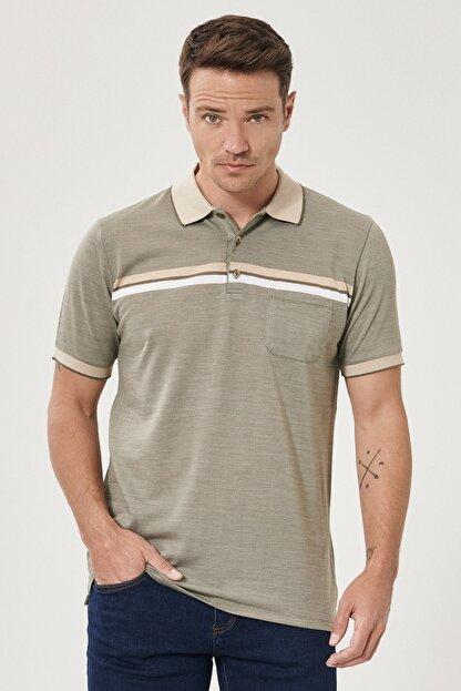 Altınyıldız Classics Erkek Haki Regular Fit Bol Kesim Polo Yaka Cepli Tişört