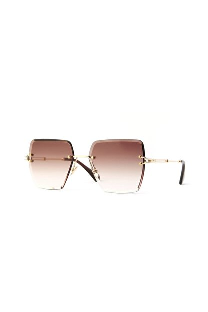 Tan Gözlük Kadın Kahverengi Kare Kristal Kesim Güneş Gözlüğü