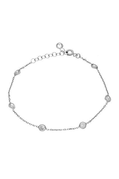 Chavin Kadın Tiffany Beyaz Sıra Taşlı Zincir Gümüş Bileklik