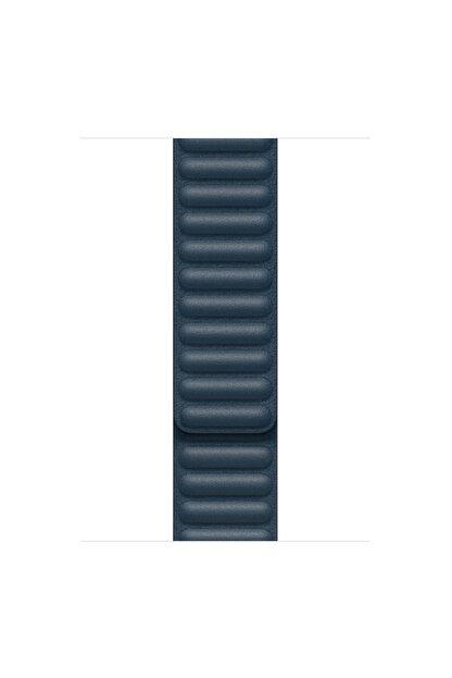 Apple Microsonic Watch Series 6 44mm Leather Link Band Lacivert Kordon