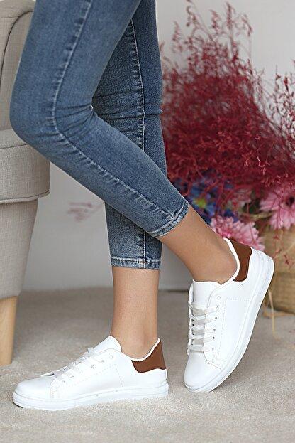 Pembe Potin Kadın Beyaz Taba Ayakkabı