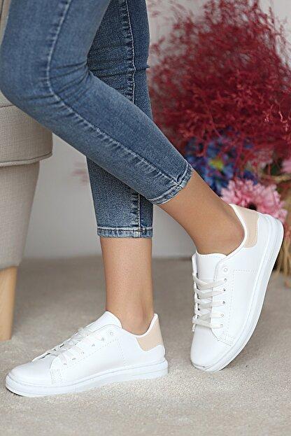 Pembe Potin Kadın Beyaz Nut Ayakkabı
