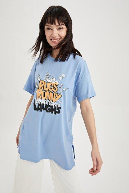 Defacto Kadın Mavi Bugs Bunny Baskılı Lisanslı Relax Fit Kısa Kollu Tunik