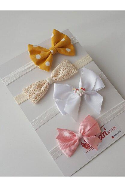 swan butik Kız Çocuk Bebek Fiyonk Bandana Seti 4lü Dantel Bandana Pembe, Beyaz, Sarı Fiyonk