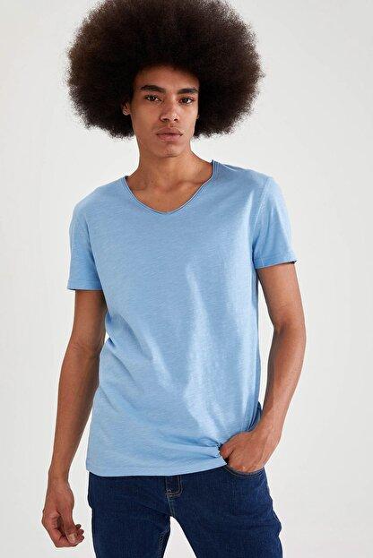 Defacto Slim Fit V Yaka Basic Kısa Kollu Mavi Tişört