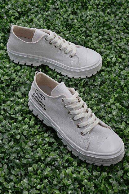 Bambi Beyaz Keten Kadın Sneaker K01530110518