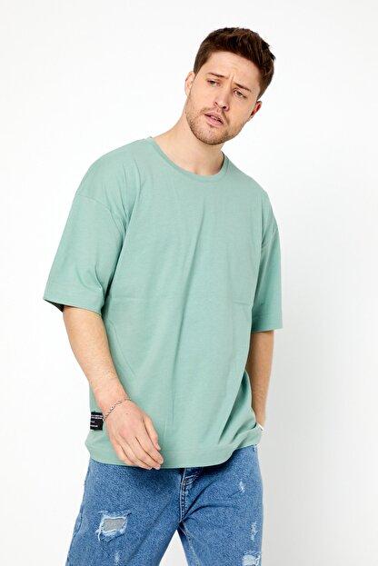 Tarz Cool Erkek Yeşil Basic Kısa Kollu Oversize T-shirt-dzovrszetr07s