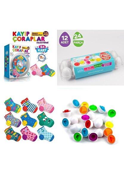AyasEğiticiOyuncak Circle Toys Geometrik Yumurta 12' Li Ve Kayıp Çoraplar Eşleme Kartları 2 Li Set