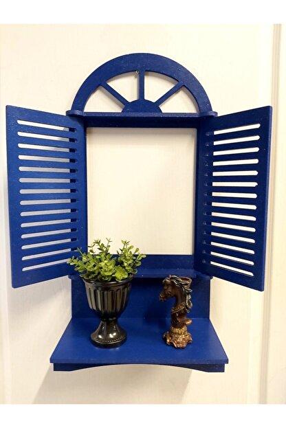 Dekorens Dekoratif Panjurlu Pencere Çiçeklik-el Boyama-mavi