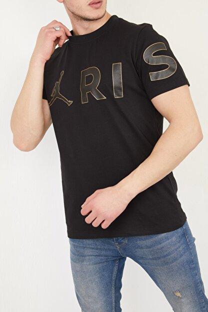 FORTY FOUR Erkek Siyah Regular Fit Baskılı T-shirt