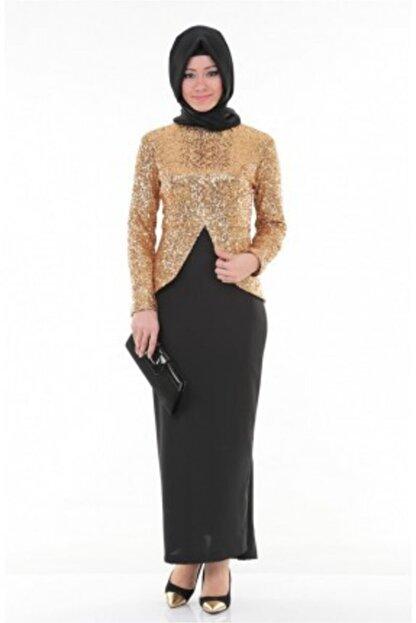Nidya Moda Kadın Kahverengi Tesettür Dore Peplumlu Abiye Tunik