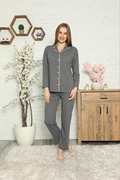 Tonny West Kadın Dört Mevsimlik Uzun Kollu Gömlek Yaka Pijama Takımı