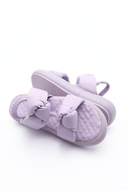 Marjin Kadın Lila Horev Dolgu Topuk Sandalet
