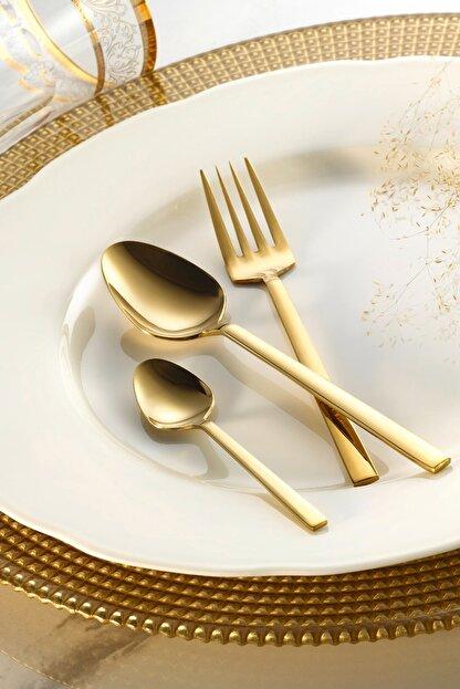 Fecra Doğa 18 Parça Gold Tatlı Çatallı Kaşık Bıçak Seti