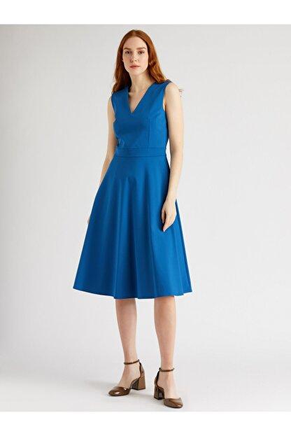VKM Kadın Mavi V Yaka Rahat Kesim Elbise
