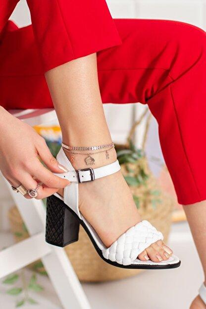 derithy Kadın Beyaz Topuklu Ayakkabı