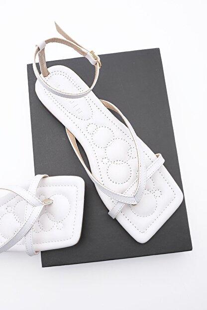 Marjin Kadın Beyaz Parmak Arası Sandalet Parfi