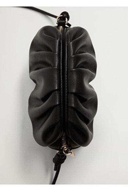 Mango Kadın Siyah Pilili Mini Çanta