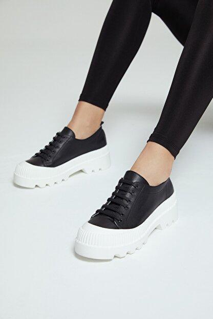 Derimod Kadın Siyah Deri Sneaker