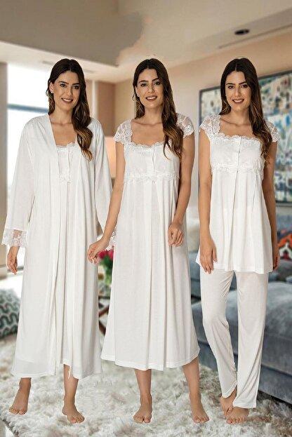 Effort Pijama Zerre Bebe Kadın Ekru Pijama Takımı Gecelik Sabahlık Lohusa Hamile 4'lü Set 2305