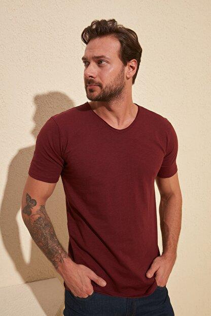 TRENDYOL MAN Bordo Basic Flamlı Süprem Regular Fit T-Shirt TMNSS20TS0035