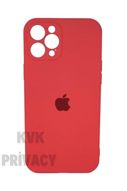 KVK PRİVACY Iphone 12 Pro Max (6.7) Kırmızı Kamera Koruyuculu Logolu Lansman Kılıf