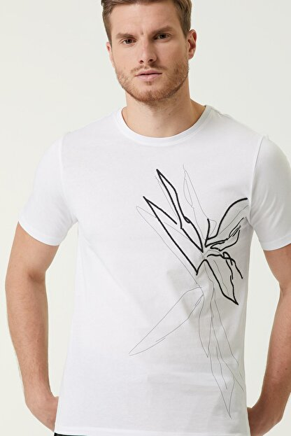 Network Erkek Slim Fit Beyaz Baskılı Basic T-shirt 1078309
