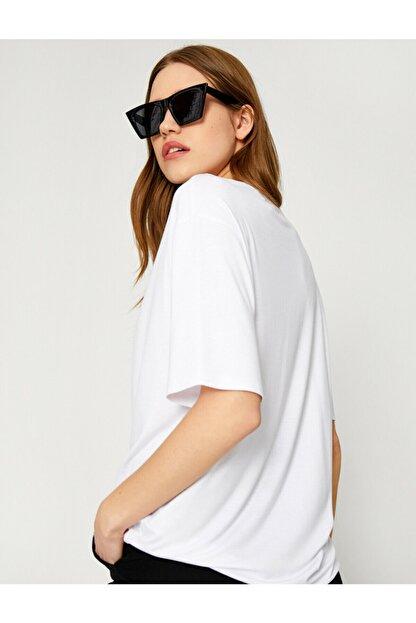 Koton Kadın Ekru Oversize T-Shirt